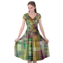 Woven Colorful Abstract Background Of A Tight Weave Pattern Cap Sleeve Wrap Front Dress by Nexatart