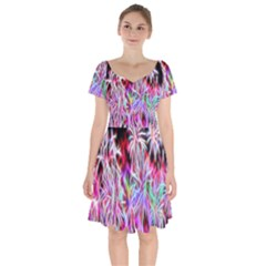 Fractal Fireworks Display Pattern Short Sleeve Bardot Dress