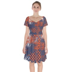 Dark Blue Red And White Messy Background Short Sleeve Bardot Dress