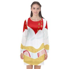 Seeds Strawberry Bread Fruite Red Long Sleeve Chiffon Shift Dress