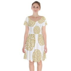 Loboloup Hydrangea Quote Floral And Botanical Flower Short Sleeve Bardot Dress
