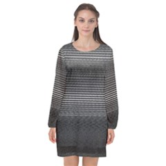 Shadow Faintly Faint Line Included Static Streaks And Blotches Color Gray Long Sleeve Chiffon Shift Dress  by Mariart