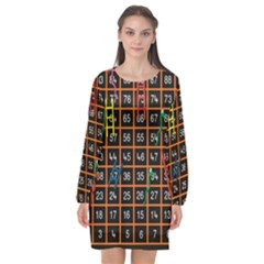Snakes Ladders Game Plaid Number Long Sleeve Chiffon Shift Dress  by Mariart
