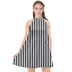 Vertical Lines Waves Wave Chevron Small Black Halter Neckline Chiffon Dress  by Mariart
