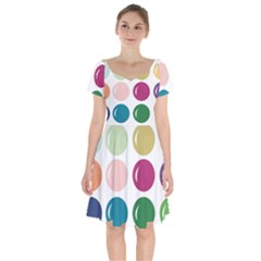 Brights Pastels Bubble Balloon Color Rainbow Short Sleeve Bardot Dress