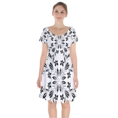 Floral Element Black White Short Sleeve Bardot Dress