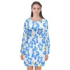 Hibiscus Flowers Seamless Blue Long Sleeve Chiffon Shift Dress  by Mariart