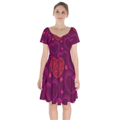 Love Heart Polka Dots Pink Short Sleeve Bardot Dress
