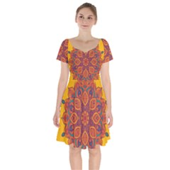Ornate Mandala Short Sleeve Bardot Dress by Valentinaart