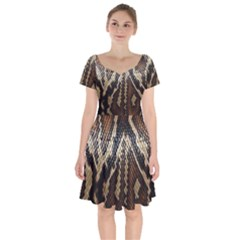 Snake Skin O Lay Short Sleeve Bardot Dress