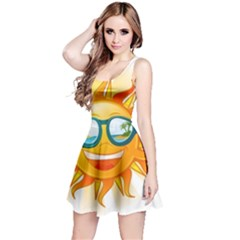 Cartoon Sun Reversible Sleeveless Dress by LimeGreenFlamingo