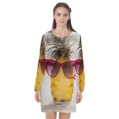 Pineapple With Sunglasses Long Sleeve Chiffon Shift Dress  by LimeGreenFlamingo