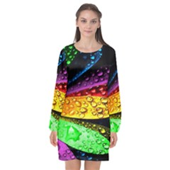 Abstract Flower Long Sleeve Chiffon Shift Dress  by BangZart