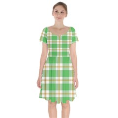 Abstract Green Plaid Short Sleeve Bardot Dress