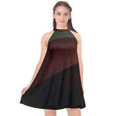 Color Vague Abstraction Halter Neckline Chiffon Dress  by BangZart
