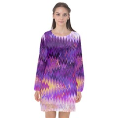 Purple And Yellow Zig Zag Long Sleeve Chiffon Shift Dress  by BangZart
