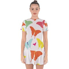 Beautiful Colorful Polka Dot Butterflies Clipart Drop Hem Mini Chiffon Dress by BangZart