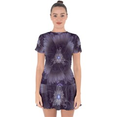 Amazing Fractal Triskelion Purple Passion Flower Drop Hem Mini Chiffon Dress