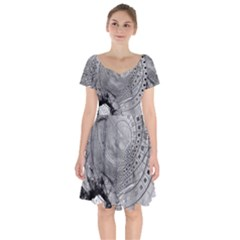 Fragmented Fractal Memories And Gunpowder Glass Short Sleeve Bardot Dress