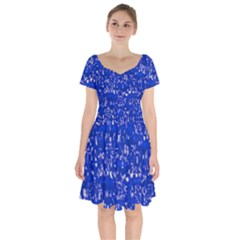 Glossy Abstract Blue Short Sleeve Bardot Dress