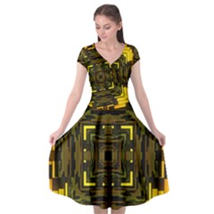 Abstract Glow Kaleidoscopic Light Cap Sleeve Wrap Front Dress by BangZart