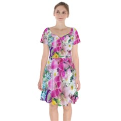 Colorful Flowers Patterns Short Sleeve Bardot Dress