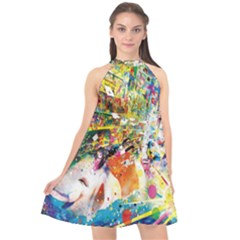Multicolor Anime Colors Colorful Halter Neckline Chiffon Dress  by BangZart