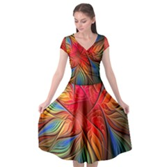 Vintage Colors Flower Petals Spiral Abstract Cap Sleeve Wrap Front Dress by BangZart