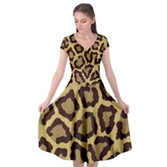 Leopard Cap Sleeve Wrap Front Dress by BangZart