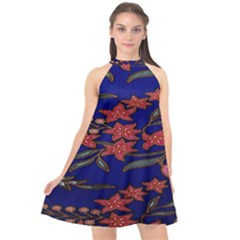 Batik  Fabric Halter Neckline Chiffon Dress  by BangZart