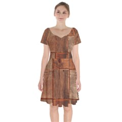 Barnwood Unfinished Short Sleeve Bardot Dress by BangZart