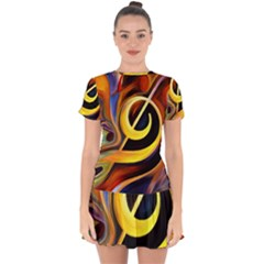 Art Oil Picture Music Nota Drop Hem Mini Chiffon Dress by BangZart
