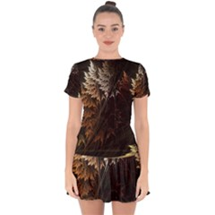 Fractalius Abstract Forests Fractal Fractals Drop Hem Mini Chiffon Dress by BangZart