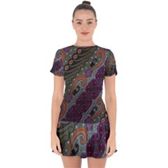 Batik Art Pattern  Drop Hem Mini Chiffon Dress by BangZart