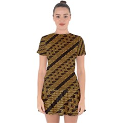 Traditional Art Indonesian Batik Drop Hem Mini Chiffon Dress by BangZart