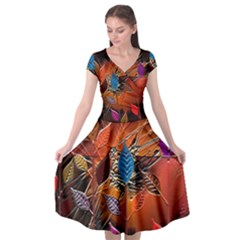 Colorful Leaves Cap Sleeve Wrap Front Dress by BangZart