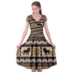 Lion African Vector Pattern Cap Sleeve Wrap Front Dress by BangZart