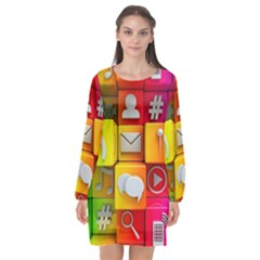 Colorful 3d Social Media Long Sleeve Chiffon Shift Dress  by BangZart