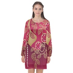 Love Heart Long Sleeve Chiffon Shift Dress  by BangZart