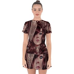 Beautiful Women Fantasy Art Drop Hem Mini Chiffon Dress