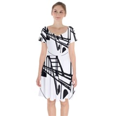 Seal Of Ahvaz Short Sleeve Bardot Dress