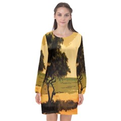 Landscape Long Sleeve Chiffon Shift Dress  by Valentinaart
