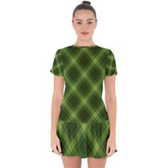 Dark Green Diagonal Plaid Drop Hem Mini Chiffon Dress