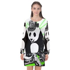 Deejay Panda Long Sleeve Chiffon Shift Dress  by Valentinaart