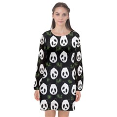 Panda Pattern Long Sleeve Chiffon Shift Dress  by Valentinaart