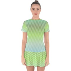 Green Line Zigzag Pattern Chevron Drop Hem Mini Chiffon Dress by Nexatart