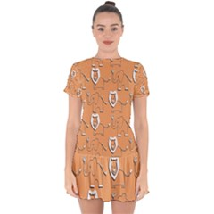 Lion Pattern Wallpaper Vector Drop Hem Mini Chiffon Dress by Nexatart