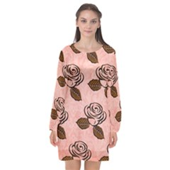 Chocolate Background Floral Pattern Long Sleeve Chiffon Shift Dress  by Nexatart