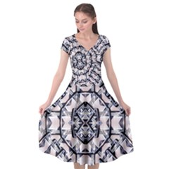 Futuristic Geometric Pattern  Cap Sleeve Wrap Front Dress by dflcprintsclothing