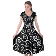 Abstract Spiral Christmas Tree Cap Sleeve Wrap Front Dress by Mariart